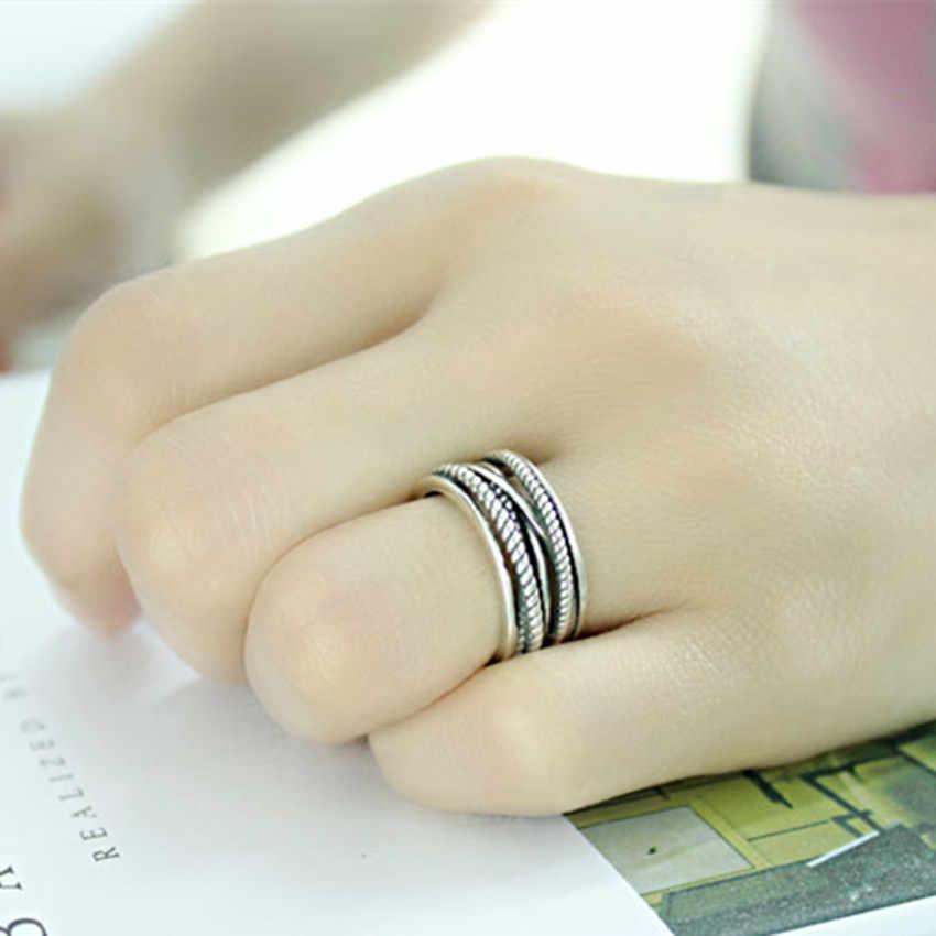 Kinitial Muliti ชั้นสายออกซิไดซ์ปรับ MIDI แหวนแฟชั่น Twrist ข้ามเครื่องประดับแหวน Twist แหวน Bijoux