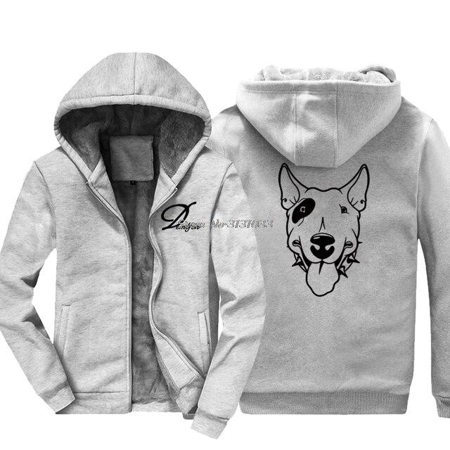 5d6a49ec50fae Invierno novedad Bull Terrier perro diseño Hoodie hombres Hip Hop mantener  caliente cremallera espesar sudadera chaqueta