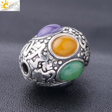 CSJA Tibetan Nepal Handmade Beads Men Women Jewelry Ethnic Charms Silver Color Bracelet Necklace Gems Buddha Spacer Beads S263 handmade 925 silver om beads jewelry findings tibetan om mani padme hum words beads om mantra beads tibetan jewelry beads