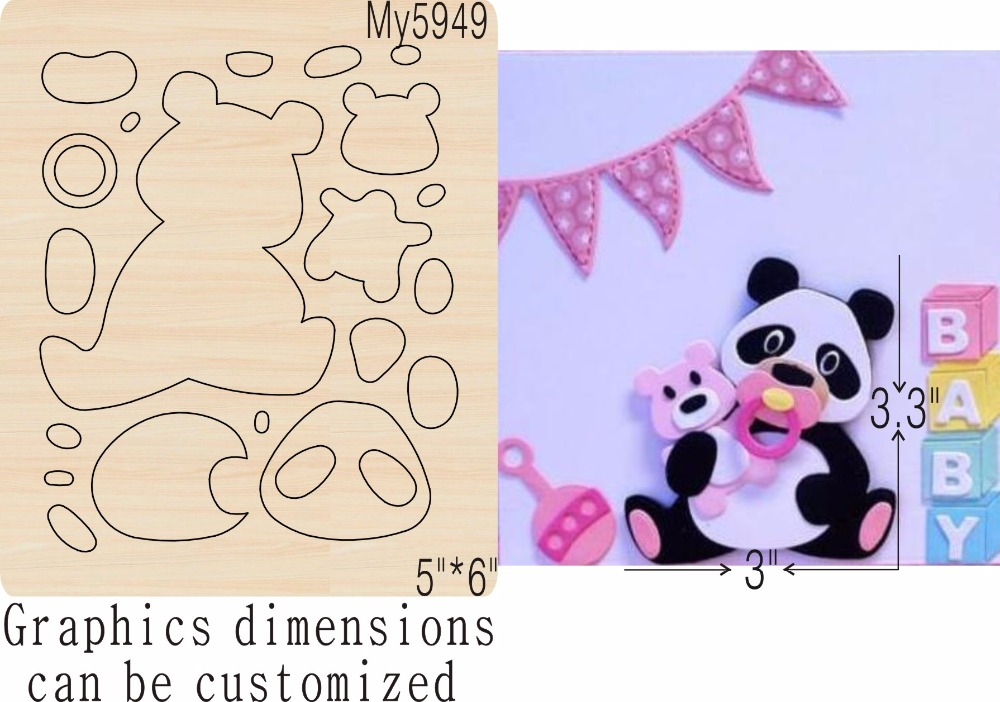 Panda and bear new wooden mould cutting dies for scrapbooking Thickness 15 8mm