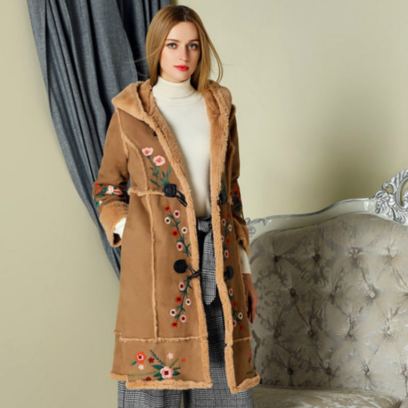 Top quality long-sleeved fashion classic coat embroidery hooded suede long trench coat S-XL free shipping lady winter over coat цены онлайн
