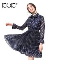 Kuk 2 Color Evening Party Dress Women Polka Dot Long Sleeve Vestido Midi Ladies Vintage Retro Blue Chiffon Dress Summer A199