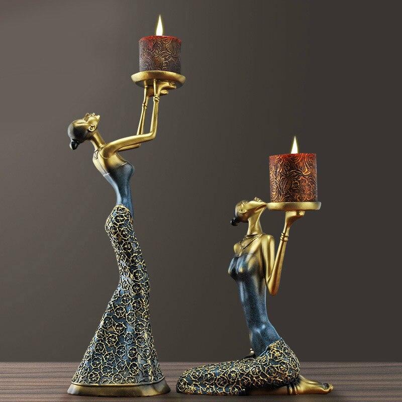 Ev ve Bahçe'ten Statü ve Heykelleri'de Klasik kadın figürlü heykel Mumluk Dekoratif Polyresin Vintage Mumluk Yemek Masası Sanat Ve El Sanatları Süs Aksesuarları'da  Grup 1