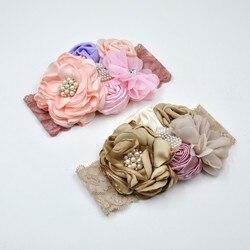 Cetim flor headbands combinando sparking strass haarbanden voor bebê meninas acessório de cabelo kidocheese