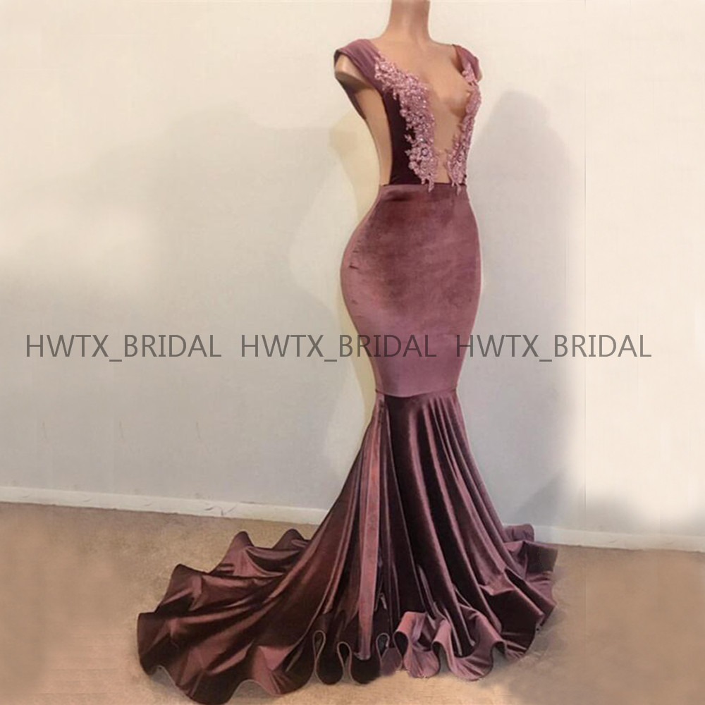 Exquisite Velvet Evening Dress 2019 Robe De Soiree Lace Deep V Neck Sexy Mermaid Long Formal Prom Dresses Special Occasion Wear