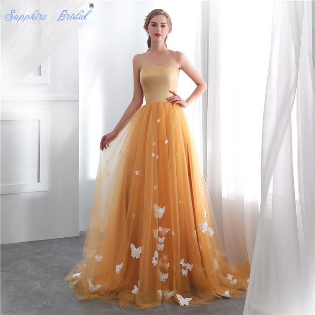 Sapphire Bridal Women s Long Evening Gowns Gold Tulle Strapless Satin Top Vestido  De Festa Elegant Applique Formal Evening Dress 1d1e427bb69b