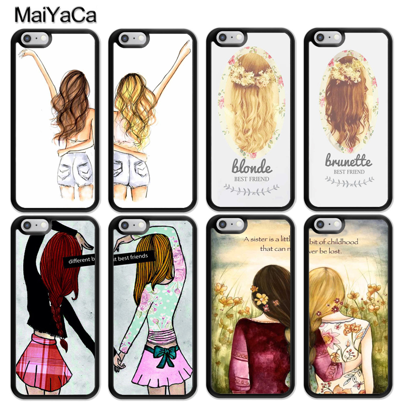 hot sale online 17b2a a5e6f MaiYaCa Girls Brunette Blonde Best Friends BFF Matching Soft Phone Cases  For iPhone 6S 7 8 Plus XS Max XR 5S SE Back Cover Coque