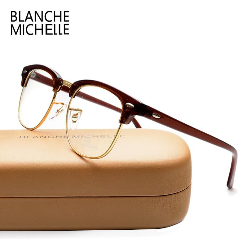 Klassiek Unisex Half Frame UV400 Brillen Frame Mannen Mode Vrouwen Goud Helder Brilmontuur optische brilmonturen Originele doos