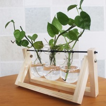 Pine Wood Modern Style Glass Tabletop Plant Bonsai Flower Wedding Decorative Vase With Wooden Tray Home