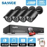 SANNCE 8CH 1080 P система видеонаблюдения 2.0MP камеры видеонаблюдения ИК Открытый 8 каналов P 1080 P видеонаблюдения DVR комплект 1 ТБ hdd