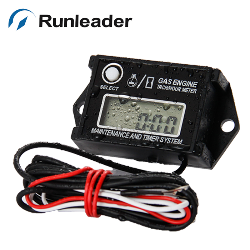Re-settable Inductive Tiny Tachometer Tacho Hour Meter for engine ATV Snowmobile jet ski motocross generator tractor lawn mower