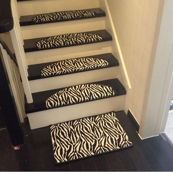 Zebra Leather Carpet For Stair Non-slip Floor Staircase Carpets Doormat black and white Mosaic Stair Treads Protector mat 5pcs