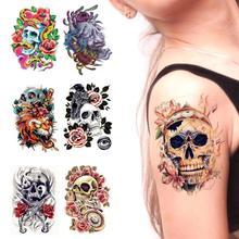 Skull Flower Waterproof Flash Tattoo Men Women Body Art Sleeve Arm Tattoo Stickers Large Fake Temporary Tatoo A4