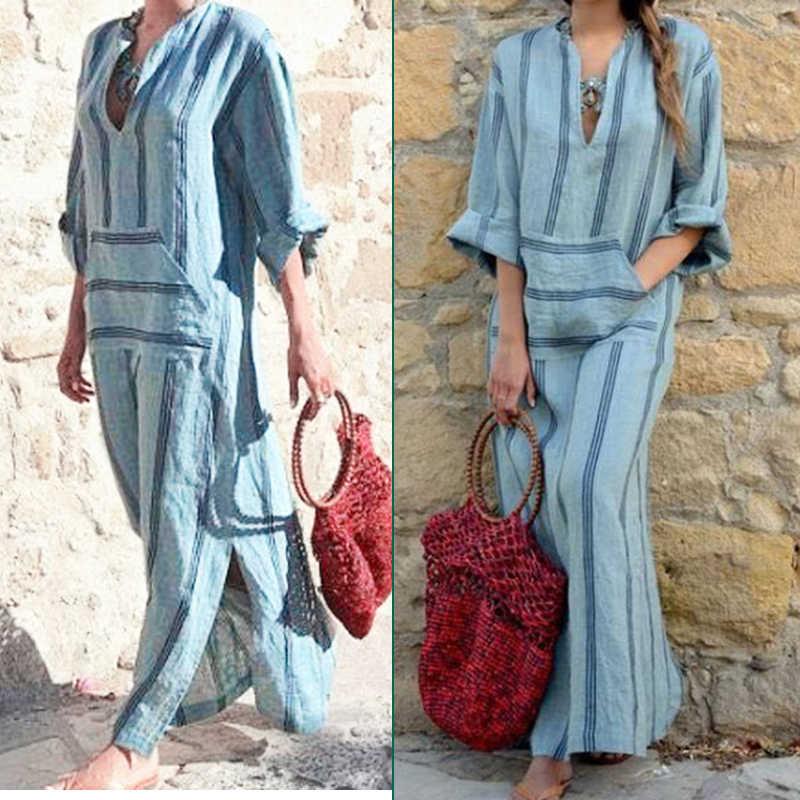 オーバーサイズの女性自由奔放に生きるだぶだぶの綿リネンロングマキシドレスカフタン長袖ドレス