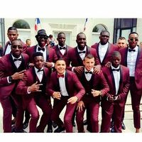 New Arrival Burgundy Wedding Men Suit Slim Fit 2 Piece Tuxedos Custom Suits Groomsman Prom Party Wear Blazer Jacket+Pants