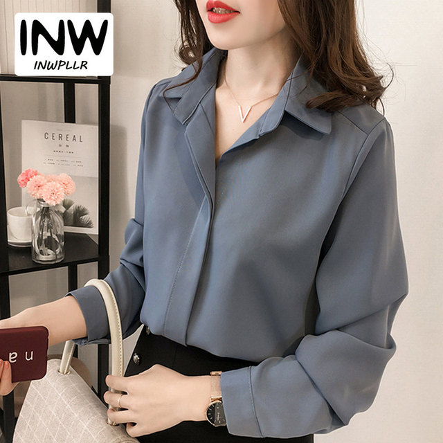 68be1c02e55 2019 Autumn Chiffon Blouse Women Shirts Plus Size Long Sleeve Blusas Femme  Casual Work Wear Office