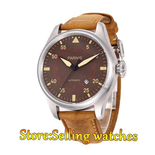 47mm Parnis Power Reserve coffee dial Brushed Case Yellow Numbers Automatic  Mens Leather Watch 47mm Parnis Power Reserve coffee dial Brushed Case Yellow Numbers Automatic  Mens Leather Watch