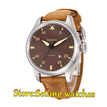 47mm Parnis Power Reserve coffee dial Brushed Case Yellow Numbers Automatic  Mens Leather Watch