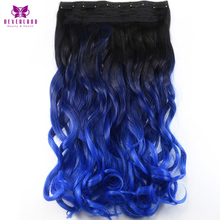Neverland 24″ 60cm Two Tone Dip Dye Blue Ombre Wavy Synthetic Hairpieces Clip-in One Piece Hair Extensions