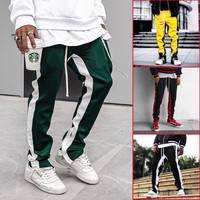 35be1d77 ... декоративные спортивные брюки, хлопковые. ZK Men S Casual Pants Color  Matching Men S Trousers Zipper Decorative Sports Pants Joggers Sweatpants