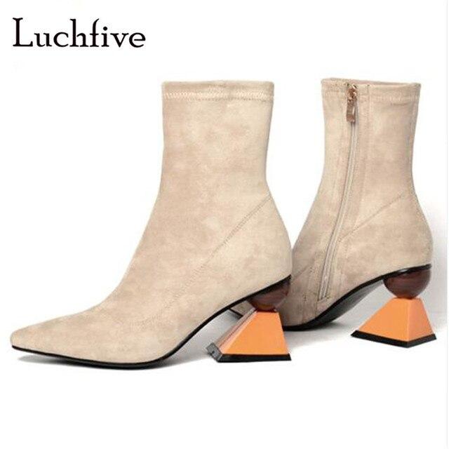 76dfb88d328 Botines sexis de Punta puntiaguda para mujer botas de tobillo de cuero  genuino de tacón alto