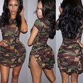 GZDL New Style Fashion Women Summer Dress Short Sleeve Sexy Mini Dresses Green Camouflage Print Plus Size Vestidos CL2940