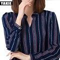 Camisa blusa Chiffon encabeça mulheres blusas de verão 2017 de manga longa Com Decote Em V soltas camisas listradas Solto Elegante Escritório Ladies Blusas