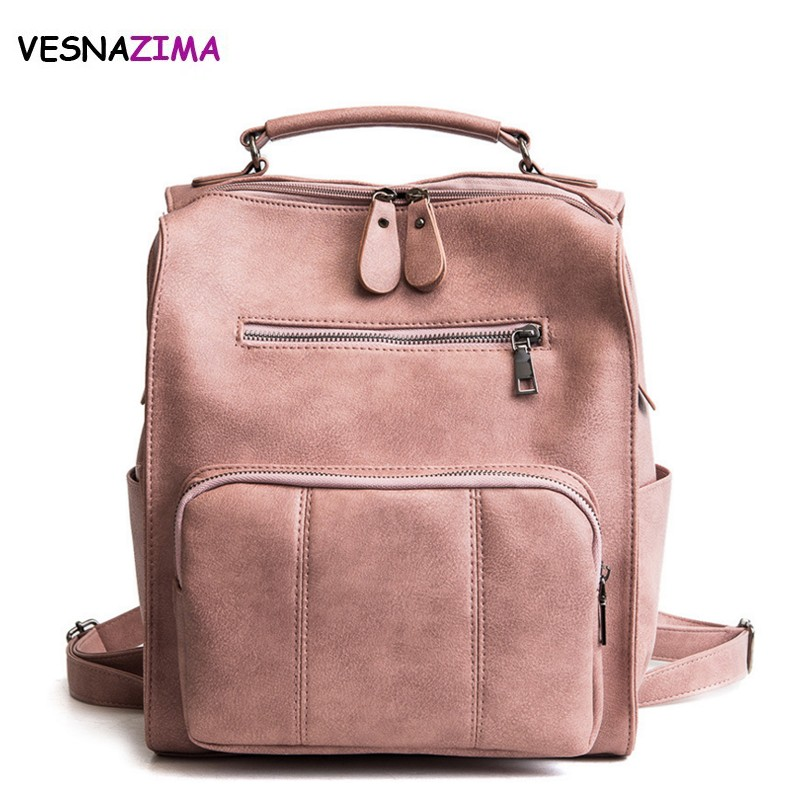 Vesnazima Backpack Women Leather Shoulder Travel Bag Female Teenage Girls Large School Backpacks Multifunction Mochilas WM628Z