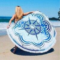 Summer Round Tassel Pareo Beach Shawl Cover Ups Pattern Bikini Wrap Printed Sarong Women Swimsuit Swimwear