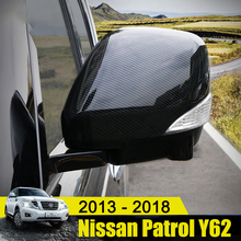 Carbon Fiber Car Styling Rear View Side Mirror Cover Case Shell Trims Fit For Nissan Patrol Y62 2013-2018 External Accessories стоимость