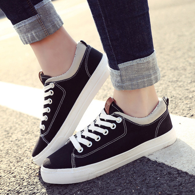 the best attitude a1fd2 93e88 US $28.78 |Classic Black Canvas Shoes Women Summer Causal Sneakers Lace Up  Trainers Basket Femme Sapato Feminino Lifestyle Fashion Footwear-in Women's  ...