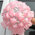 New Arrival Shipping Silk Bouquet Pink Rose Diamond Pearl Wedding Flower ,Ribbon Bridal Bouquets Accept Custom Quality