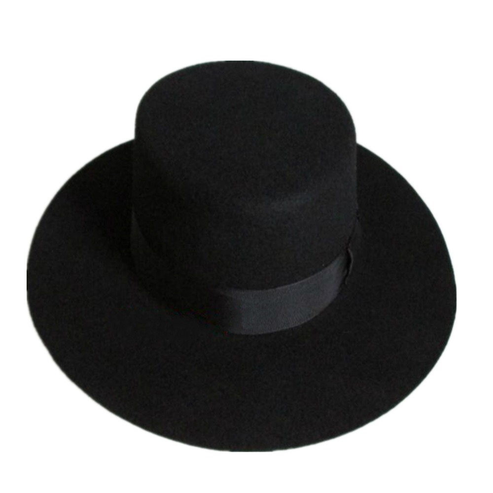 Black Women Wool Felt Boater Fedora Hat