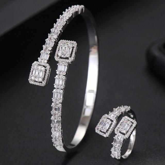 GODKI Conjunto de anillo de compromiso de lujo para mujer, conjunto de anillo de brazalete juegos de joyas para mujer, brincos para as mulheres 2020