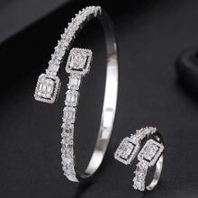 Godki luxo na moda arábia saudita bangle anel conjunto conjuntos de jóias para o casamento feminino noivado brincos para como mulheres 2020
