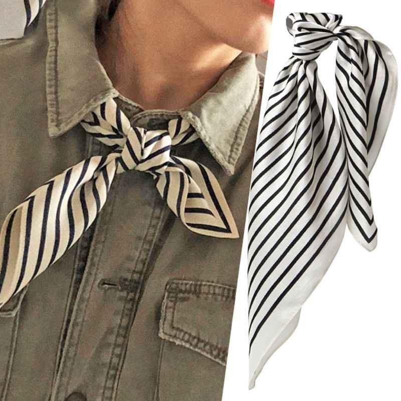 Donne Dell'annata Geometrica A Righe Piazza Sciarpa di Collo Office Lady Imitazione di Seta Decorativo Fazzoletto Da Collo Bandana Headwrap