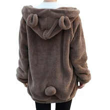Cute Women Fleece Coat Lovely Bear Hooded Outwear Zipper Warm Winter Long Sleeve Lamb Wool Female Oversize