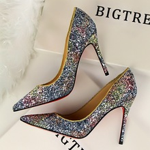 2017 New Sequins PU Leather Women High Heels Pumps Shoes Pointed toe Office&career Classics  Pumps Shoes  6 Colour