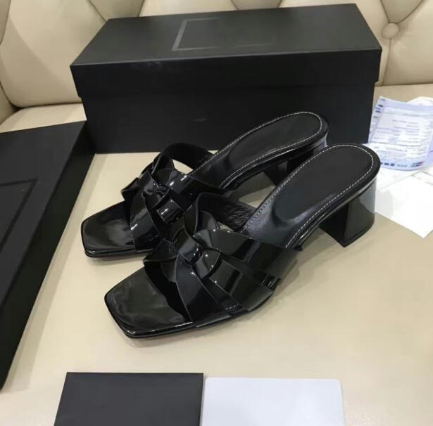 Summer 2019 New Black Slippers genuine cow leather with one-word slipper 4.5cm heels medium heels open-toed sandals womens shoeSummer 2019 New Black Slippers genuine cow leather with one-word slipper 4.5cm heels medium heels open-toed sandals womens shoe