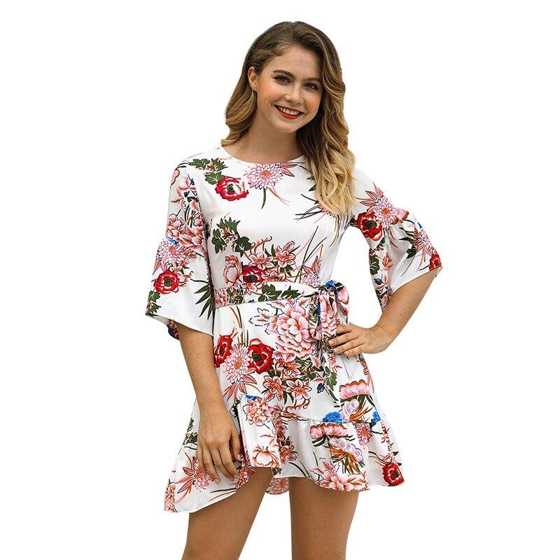 aed6176b106 платья платье летнее женское пляжное большой размер бохо мода лето 2018 для  женщин туника женская пляжная трапеция с цветочным принтом полов.