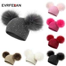 Evrfelan/детская зимняя шапка с помпоном для девочек и мальчиков; вязаная теплая шапка; повседневные шапочки; детская зимняя шапка; детская шапка; стразы