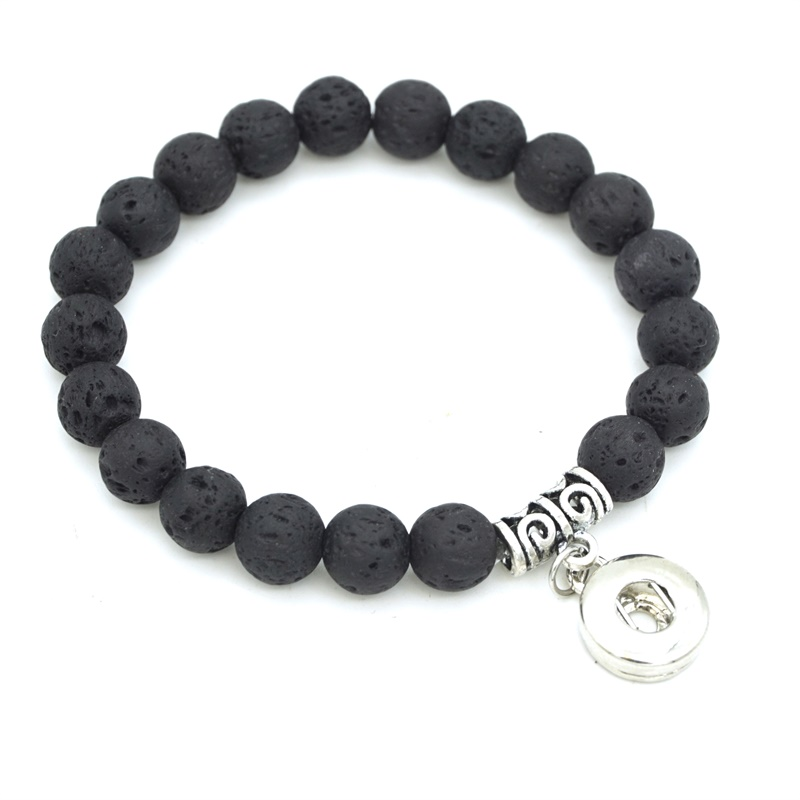 4 Style 8mm Black Lava Stone Beads DIY Aromatherapy Essential Oil Diffuser Bracelet 12mm Snap Button Charms Yoga Strand Jewelry image