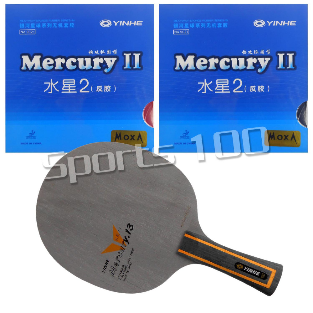 Pro Table Tennis Combo Paddle Racket Galaxy YINHE Mercury.13 Blade with 2x Mercury II Rubbers Long Shakehand FL hrt 2091 blade with galaxy yinhe 9000e dawei 388a 4 rubbers for a table tennis combo racket fl