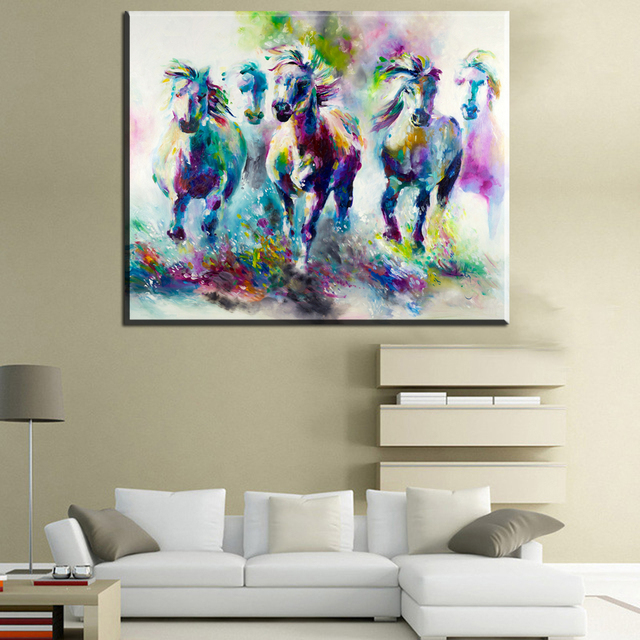 Zz563 watercolor canvas prints art 8 running horses canvas pictures oil art painting for livingroom bedroom