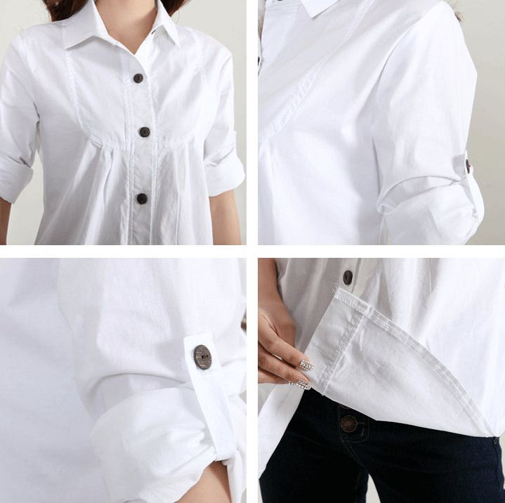 women shirt work wear New Autumn high quality long sleeve slim cotton blouse office ladies plus size formal tops in Blouses amp Shirts from Women 39 s Clothing