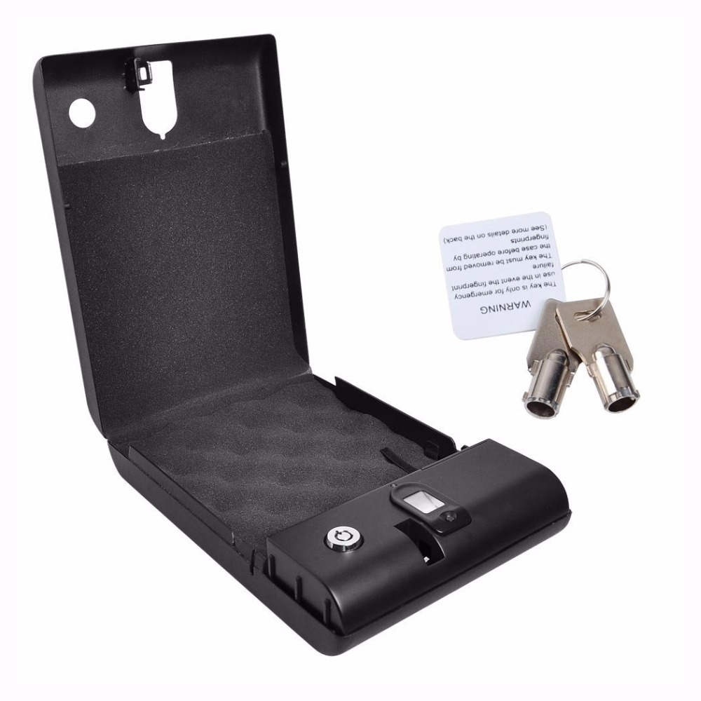 Fingerprint Safe Box Security Fingerprint and Key Lock Safes For Car Household Valuables Jewelry Box Protable Safes Strongbox el izi okumali silah kasası