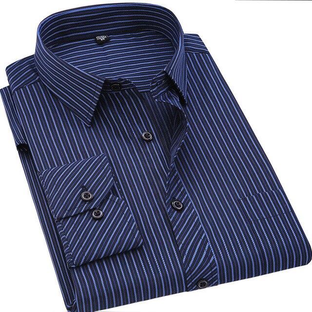 6XL Blau/weiß/schwarz Shirt Männer Business Casual Lange Ärmeln Hemd Klassische Striped Männlich Sozialen Kleid Shirts camisa masculina