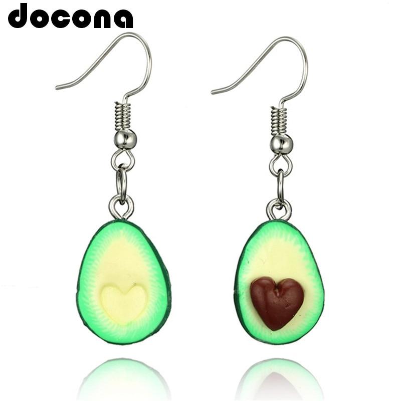 Docona Green Color Cute Avocado Drop Earring For Women Girl Cartoon Fruit Piercing Pendant Earring Statement Jewelry 6045