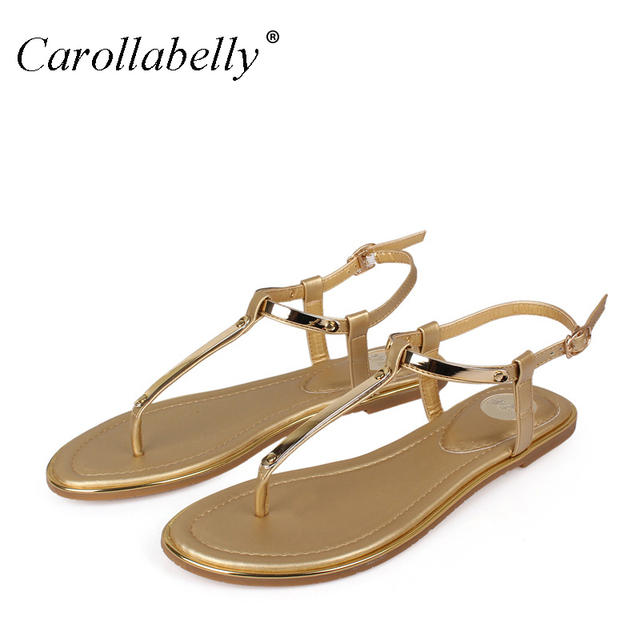 b0ca8a6ae Women Flats Beach Sandals Mental gold T-Strap Sexy Sandwish Shoes Simple  Flat Heel Shoes