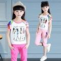 Fashion Summer Girls Set New 2016 Kids Figure Cartoon Print Clothes Girl Shirt and Shorts 2pc Children Clothing 3 Colors